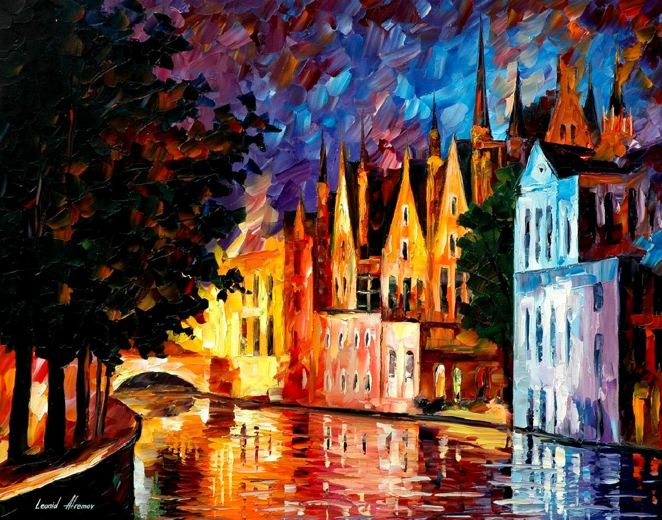 Modern impressionism palette knife oil painting City001