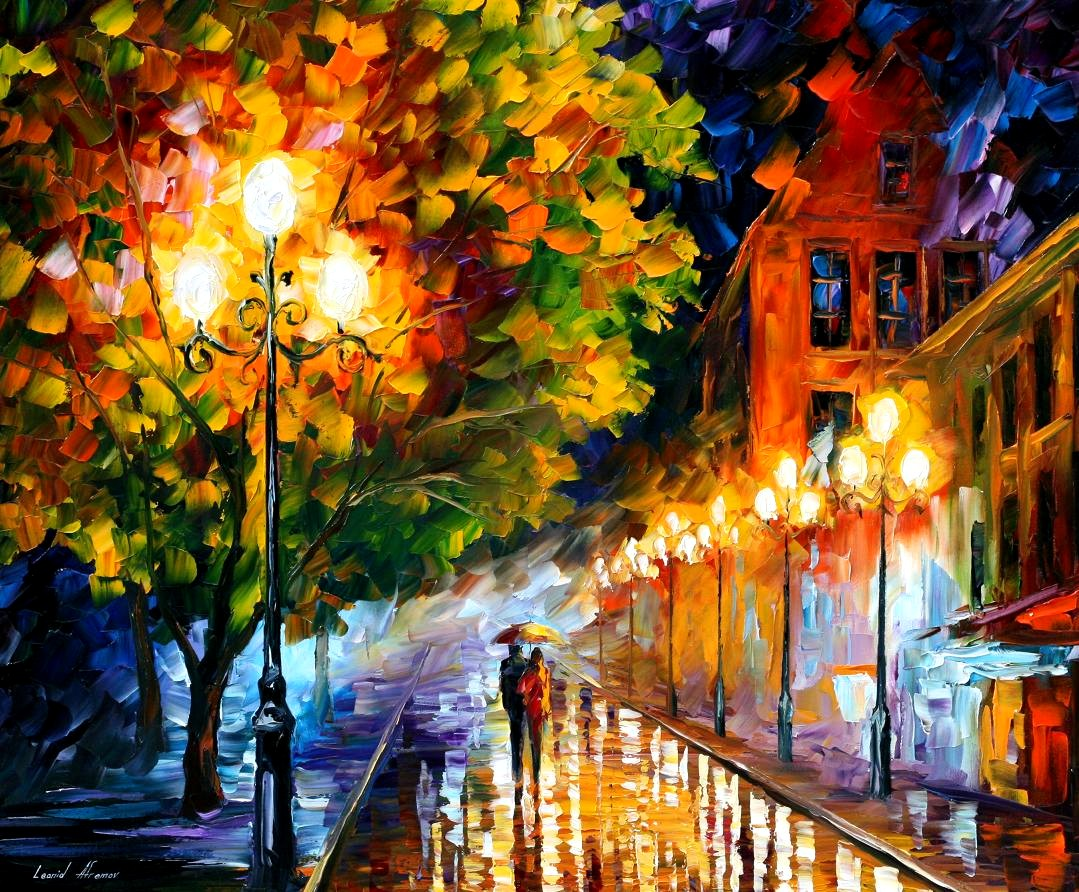 Modern impressionism palette knife oil painting City004